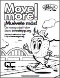 Move more! bilingual coloring page