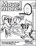 Move more! coloring page